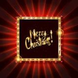 Χρυσό έμβλημα Χριστουγέννων με τις λάμπες φωτός απεικόνιση αποθεμάτων