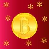 Χρυσό έμβλημα bitcoin για τα Χριστούγεννα και το νέο έτος Ψηφιακό Cryptocurrency διάνυσμα Υπόβαθρο ύφους τεχνολογίας και ελεύθερη απεικόνιση δικαιώματος