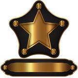 Χρυσό έμβλημα αστεριών Στοκ Φωτογραφίες
