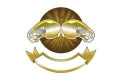 Χρυσό έμβλημα εγκιβωτίζοντας γαντιών Στοκ εικόνα με δικαίωμα ελεύθερης χρήσης