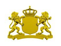 Χρυσό έμβλημα λόφων λιονταριών απεικόνιση αποθεμάτων