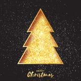 Χρυσό δέντρο Χριστουγέννων χαιρετισμός καλή χρονιά καρτών του 2007 καλή χρονιά Στοκ εικόνα με δικαίωμα ελεύθερης χρήσης