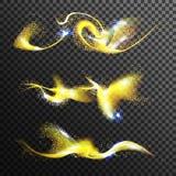 Χρυσό ακτινοβολώντας διάνυσμα σκόνης αστεριών Χρυσό μαγικό κύμα Απομονωμένος στη διαφανή απεικόνιση υποβάθρου διανυσματική απεικόνιση