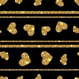 Χρυσό ακτινοβολώντας άνευ ραφής σχέδιο καρδιών Οριζόντιο ριγωτό υπόβαθρο ελεύθερη απεικόνιση δικαιώματος