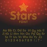 Χρυσό ακτινοβολώντας αλφάβητο των σπινθηρισμάτων Διανυσματική απεικόνιση