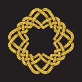Χρυσό ακτινοβολώντας πρότυπο λογότυπων στο κελτικό ύφος κόμβων Στοκ φωτογραφίες με δικαίωμα ελεύθερης χρήσης