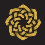 Χρυσό ακτινοβολώντας πρότυπο λογότυπων στο κελτικό ύφος κόμβων Στοκ Εικόνες