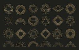 Χρυσό ακτινωτό έμβλημα έκρηξης ηλιοφάνειας αναδρομικό μορφές σπινθηρίσματος ανατολής Η ηλιοφάνεια, λάμπει διανυσματικές ετικέτες  απεικόνιση αποθεμάτων
