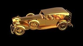 Χρυσό αναδρομικό αυτοκίνητο απόθεμα βίντεο
