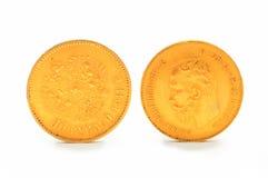 χρυσό απομονωμένο απεικόνιση διανυσματικό λευκό νομισμάτων ανασκόπησης 10 ρούβλια Ρωσία Στοκ Εικόνες