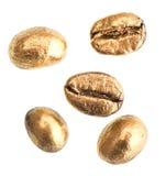χρυσό απομονωμένο λευκό καφέ φασολιών Στοκ εικόνες με δικαίωμα ελεύθερης χρήσης