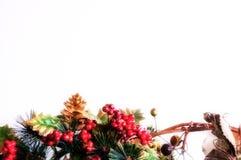 χρυσό απομονωμένο λευκό κορδελλών δώρων Χριστουγέννων κιβωτίων συνόρων ανασκόπησης Στοκ Φωτογραφίες
