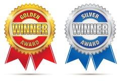 χρυσό ασήμι βραβείων Στοκ Εικόνες
