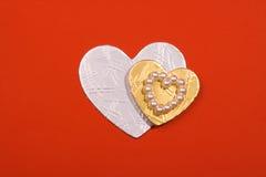χρυσό ασήμι καρδιών Στοκ Φωτογραφία