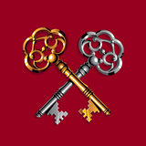 χρυσό ασήμι πλήκτρων Στοκ Φωτογραφίες