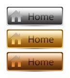 χρυσό ασήμι σπιτιών κουμπιών Στοκ φωτογραφία με δικαίωμα ελεύθερης χρήσης