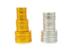 χρυσό ασήμι χρωμάτων νομισμάτων Στοκ εικόνες με δικαίωμα ελεύθερης χρήσης