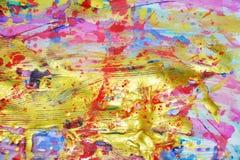 Χρυσό ασημένιο ιώδες πράσινο ρόδινο αφηρημένο υπόβαθρο ζωγραφικής Στοκ φωτογραφίες με δικαίωμα ελεύθερης χρήσης