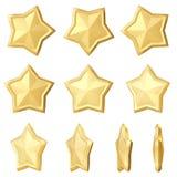 χρυσό αστέρι Διαφορετικές γωνίες Στοκ Φωτογραφίες