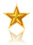 Χρυσό αστέρι με τη κόκκινη γραμμή ελεύθερη απεικόνιση δικαιώματος
