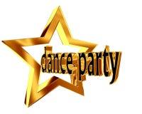 Χρυσό αστέρι με το κόμμα χορού κειμένων σε ένα άσπρο υπόβαθρο Στοκ Εικόνες