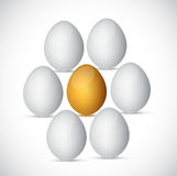 Χρυσό αυγό γύρω από τα άσπρα αυγά. σχέδιο απεικόνισης Στοκ Φωτογραφία