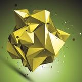 Χρυσό αφηρημένο ασυμμετρικό διανυσματικό αντικείμενο, πλέγμα γραμμών Στοκ Εικόνες