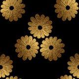 Χρυσό αφηρημένο σχέδιο λουλουδιών Το χέρι χρωμάτισε το floral άνευ ραφής υπόβαθρο Στοκ φωτογραφίες με δικαίωμα ελεύθερης χρήσης