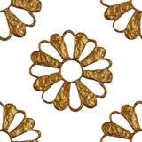 Χρυσό αφηρημένο σχέδιο λουλουδιών Το χέρι χρωμάτισε το floral άνευ ραφής υπόβαθρο Στοκ εικόνες με δικαίωμα ελεύθερης χρήσης