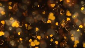 Χρυσό αφηρημένο υπόβαθρο καρδιών Άνευ ραφής ζωτικότητα διακοπών ημέρας βαλεντίνων βρόχων διανυσματική απεικόνιση
