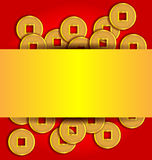 Χρυσό αφηρημένο υπόβαθρο νομισμάτων για το κινεζικό νέο έτος στοκ εικόνες με δικαίωμα ελεύθερης χρήσης
