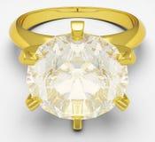 Χρυσό δαχτυλίδι με λαμπρό Στοκ Φωτογραφίες