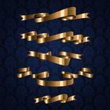 Χρυσό βασιλικό στοιχείο κορδελλών σχεδίου στο μπλε πρότυπο Στοκ Φωτογραφία
