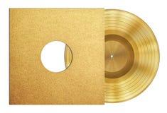 Χρυσό βραβείο δίσκων μουσικής αρχείων στο μανίκι Στοκ Εικόνα