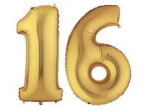 Χρυσό γλυκό δέκα έξι μπαλονιών Στοκ εικόνα με δικαίωμα ελεύθερης χρήσης