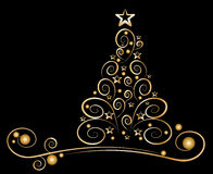 χρυσό δέντρο διακοσμήσεων Χριστουγέννων καρτών Στοκ Φωτογραφία