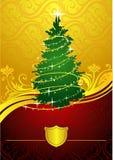 χρυσό δέντρο Χριστουγέννω& Στοκ Φωτογραφίες