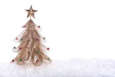 χρυσό δέντρο Χριστουγέννω& Στοκ φωτογραφία με δικαίωμα ελεύθερης χρήσης