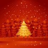 χρυσό διάνυσμα δέντρων Χριστουγέννων Στοκ Εικόνες