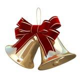 χρυσό διάνυσμα Χριστουγέννων κουδουνιών απεικόνιση αποθεμάτων