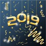 Χρυσό διανυσματικό κείμενο 2019 πολυτέλειας διανυσματικές απεικονίσεις σχεδίου καλής χρονιάς διανυσματική απεικόνιση