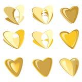 Χρυσό διανυσματικό σύνολο καρδιών Στοκ φωτογραφία με δικαίωμα ελεύθερης χρήσης