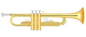 Χρυσό εικονίδιο σαλπίγγων, ρεαλιστικό ύφος διανυσματική απεικόνιση