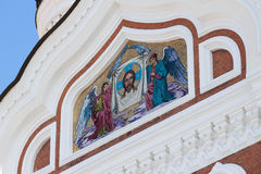 Χρυσό εικονίδιο μωσαϊκών στον καθεδρικό ναό στο Ταλίν, Εσθονία Στοκ Φωτογραφία