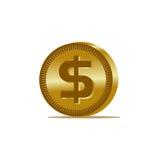Χρυσό εικονίδιο νομισμάτων δολαρίων Στοκ Εικόνες