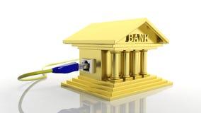 Χρυσό εικονίδιο τραπεζών με την πρόσβαση Διαδικτύου Στοκ Φωτογραφία