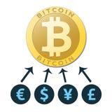 Χρυσό εικονικό νόμισμα bitcoin διανυσματική απεικόνιση