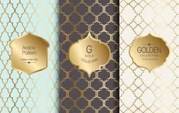 Χρυσό εκλεκτής ποιότητας σχέδιο επίσης corel σύρετε το διάνυσμα απεικόνισης Χρυσό αφηρημένο πλαίσιο Σύνολο ετικετών αραβικό πρότυ Στοκ Φωτογραφία