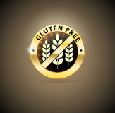 Χρυσό ελεύθερο εικονίδιο γλουτένης Στοκ Φωτογραφίες