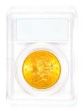 Χρυσό επικεφαλής νόμισμα ελευθερίας σε περίπτωση που Στοκ εικόνα με δικαίωμα ελεύθερης χρήσης